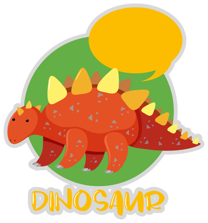 Sticker design with stegosaurus illustration