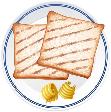 Two toasted and butter on white plate illustration