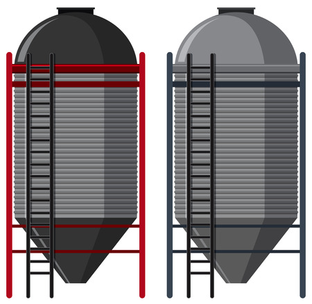 Two silo with ladders, vector illustration.