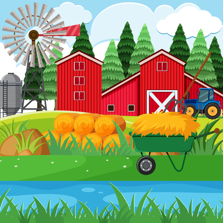 Dried hay and red barns in the farmyard illustration Illustration