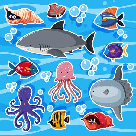 Sticker templates with sea animals underwater illustration Illustration