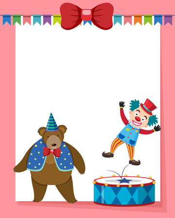 Border template with circus bear and clown illustration. Illustration