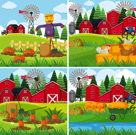 Fresh vegetables in the farms illustration