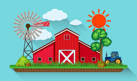 Big red barn and blue tractor illustration