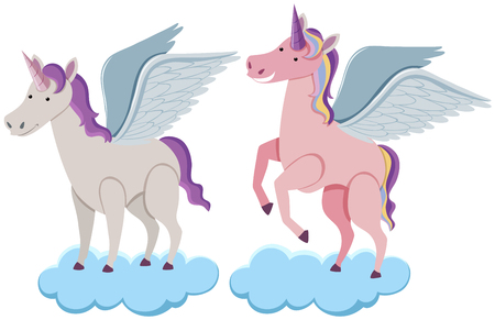 Two unicorns on blue clouds illustration.