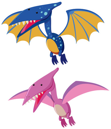 Two pterosaurs in blue and pink illustration.