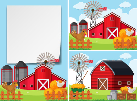 Three scenes with barns and chickens illustration.