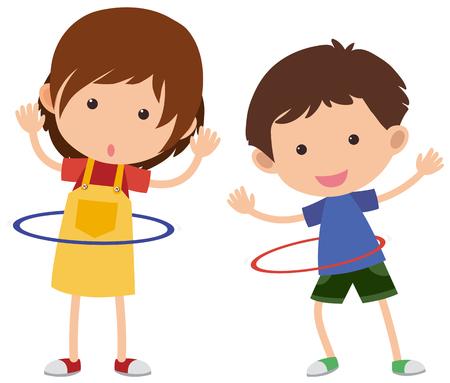 Two kids playing hula-hoop, vector illustration.