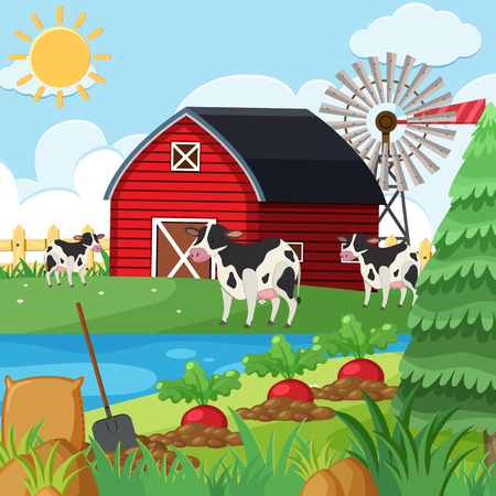Three cows on the farm at daytime illustration.