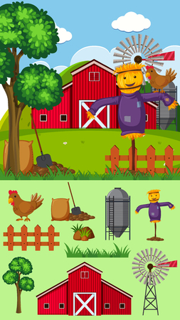 Farm scene with scarecrow and other elements illustration.