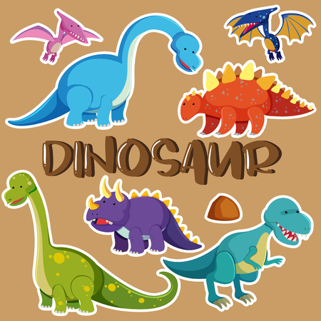 Different types of dinosaurs illustration Stock Vector - 91332791