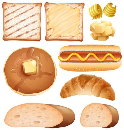 Breakfast set with toasted and hot-dog, vector illustration.