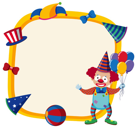 Border template with happy clown and balloons illustration.