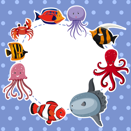 Border template with sea animals on blue background illustration. Illustration