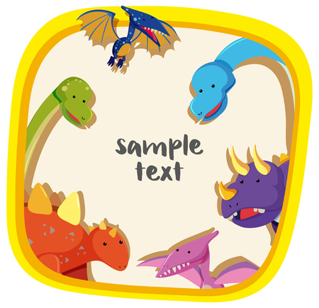 Border template with different types of dinosaurs illustration. Illustration