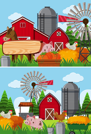 Two scenes of farmland with many animals illustration.