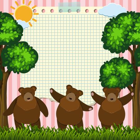 Border template with three bears in garden illustration. Stock Illustratie