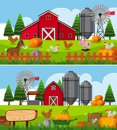 Two scenes of farm with many animals illustration.