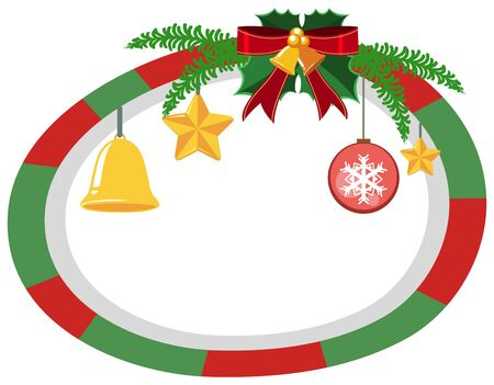 Round border template with Christmas theme illustration. Illustration