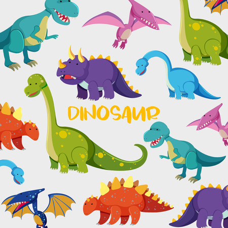 Background design with many cute dinosaurs illustration.