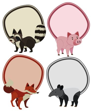 Four border templates with wild animals illustration.