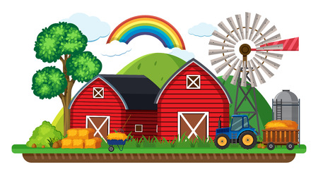 Farm scene with tractor and hay illustration.