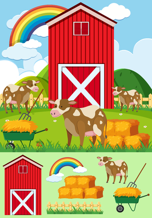 Brown cows and red barn on the farm illustration.
