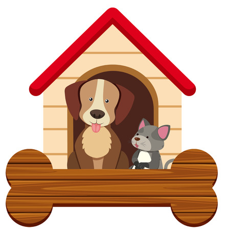 Banner template with cute dog and cat at penthouse illustration.