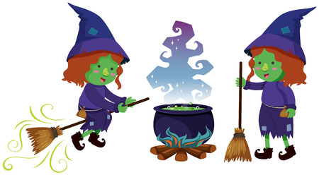 Two witches and magic brew pot, vector illustration.