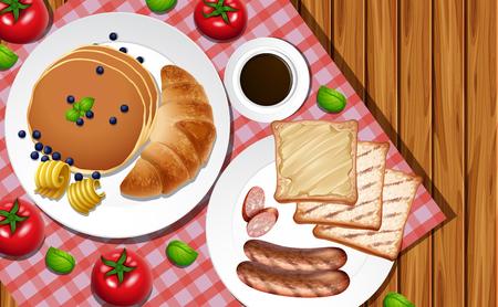 Breakfast set on wooden table illustration.