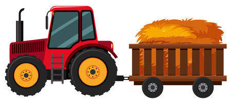 Tractor with hay in the cart, vector illustration. Ilustracja