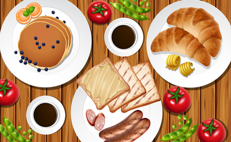 Pancakes and toasted on table illustration. Illustration
