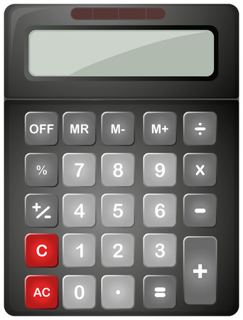 Black calculator with solar cell illustration