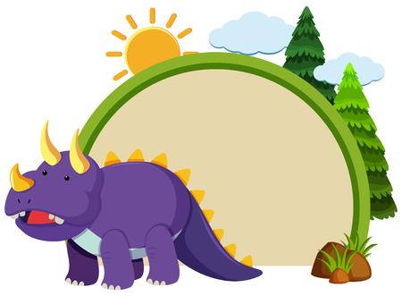 Border template with purple triceratops illustration  イラスト・ベクター素材