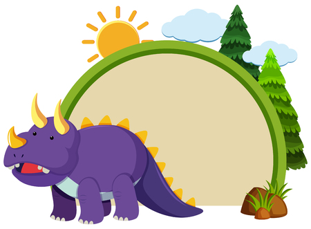 Border template with purple triceratops illustration 矢量图像
