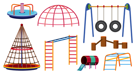 Different types of play stations for playground illustration.