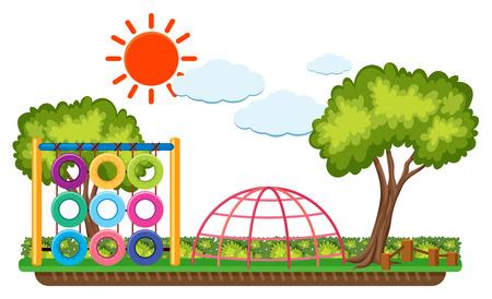 Climbing stations in the playground illustration Illustration