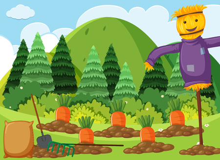 Scene with carrot garden and scarecrow illustration Çizim