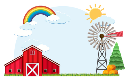 Scene with barn and rainbow in sky illustration