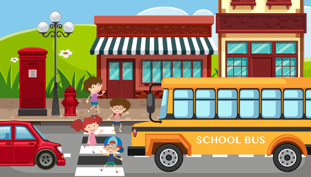 City scene with children crossing the street illustration