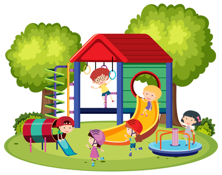 Happy kids playing in the playground illustration Illustration