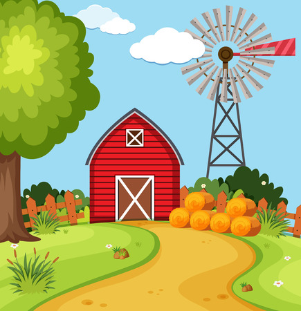 Red barn and wind turbine on the farm illustration Çizim