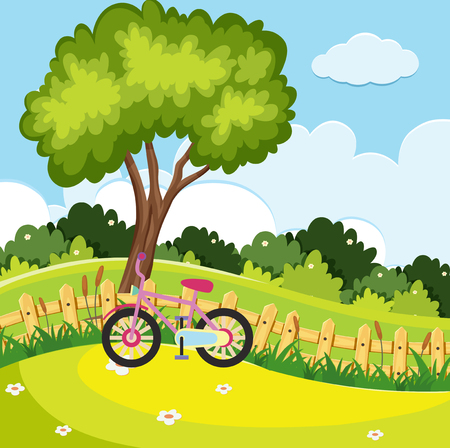 Park scene with pink bike by the fence illustration