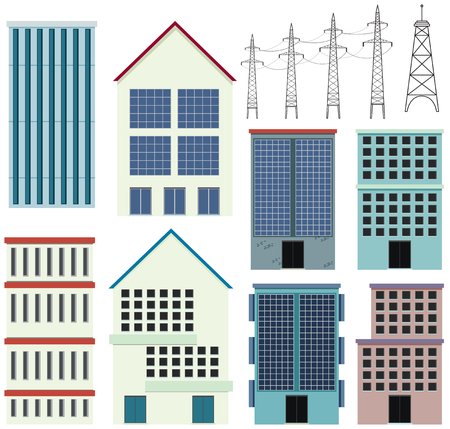 Different designs of office buildings illustration