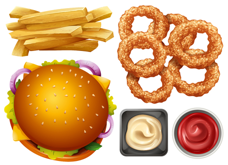 Different types of fast food on white background illustration. 向量圖像