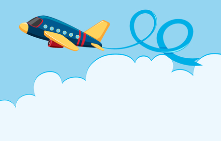 Sky scene with airplane and white cloud illustration