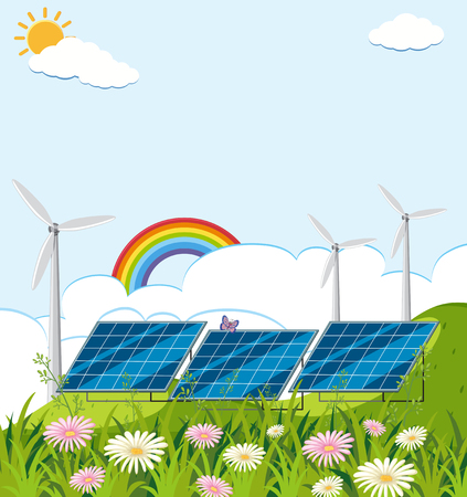 Field with solar cell and wind turbines illustration