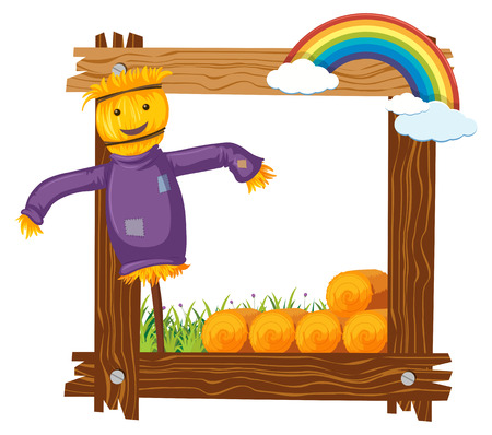 Frame design with happy scarecrow illustration