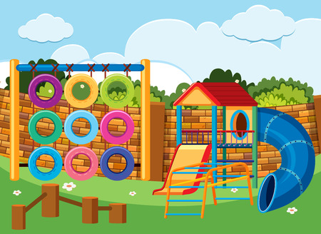 Playground scene with climbing station and slides illustration