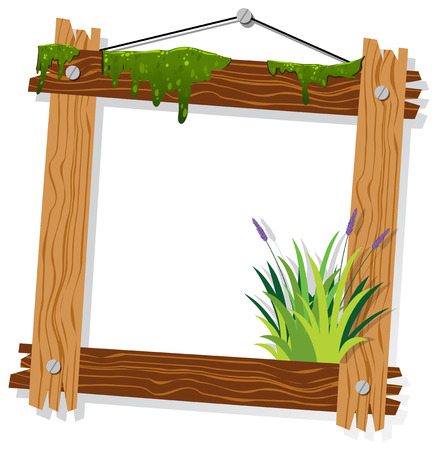 Wooden frame with moss and grass illustration